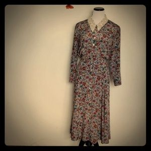 Liz Claiborne Blue Button Up Modest Maxi Dress 4